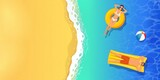 top view summer tropical banner.