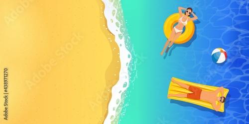 Fototapeta premium top view summer tropical banner.