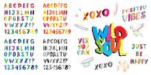 Hand Drawn Vector Font Imitation With Lettering Quotes