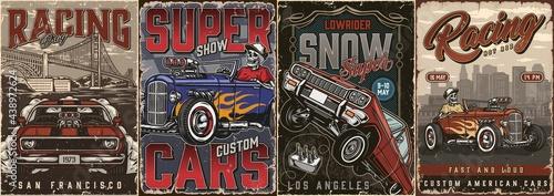 Fotografie, Obraz American custom cars colorful posters