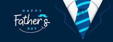 Happy Fathers Day Banner Vector Illustration. Daddy Navy Suit Greeting Card