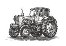 Farm Tractor Sketch. Agricultural Industry, Farming Concept. Vintage Vector Illustration