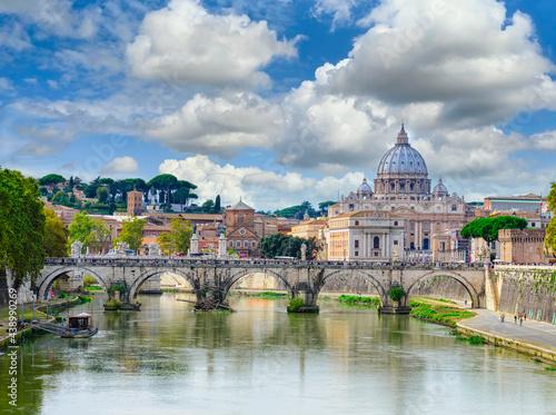 Fotografie, Obraz View of Basilica St Peter, bridge Sant Angelo and river Tiber in Rome