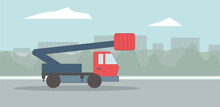 Vector Flat Illustration Of Auto Tower. Mobile Aerial Tower. Boom Trucks. City Backdrop