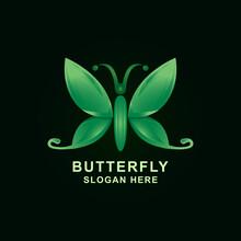 Green Butterfly Icon Color Logo Design Vector Illustration Design Template