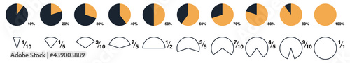 Foto Percentage illustration - circle pie parts from one tenth to whole