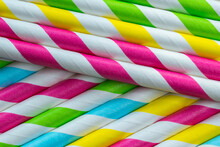 Set Of Colorful Paper Straws For Drinks And Beverages