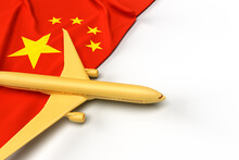 Passenger Airplane And Flag Of China. 3D Illustration
