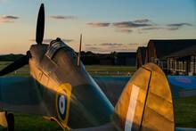 Hawker Hurricane British World War Two Fighter Plane At Sunset
