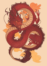 Hand Drawn Red Dragon Vector Printing.Japanese Old Dragon For Tattoo. Traditional Asian Tattoo The Old Dragon Vector.