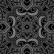 Elegance Black And White Lines Seamless Pattern. Vector Ornamental Lacy Background. Repeat Greek Style Backdrop. Beautiful Line Art Floral Ornaments With Flowers, Lines, Greek Key, Meanders, Dots