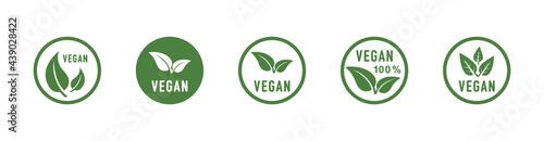 Fotografie, Obraz Vegan round icons set