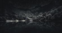 Monochrome Night Shot Of Mountain Lake