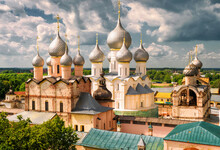 Old Cathedrals In Kremlin Of Rostov The Great, Golden Ring Of Russia
