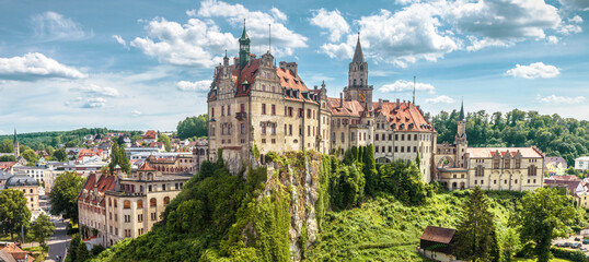 Panorama of Sigmaringen Castle, Germany. Urban landscape with German castle