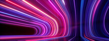 3d Render, Abstract Panoramic Neon Background. Bright Purple Violet Pink Lines Glowing In Ultraviolet Light