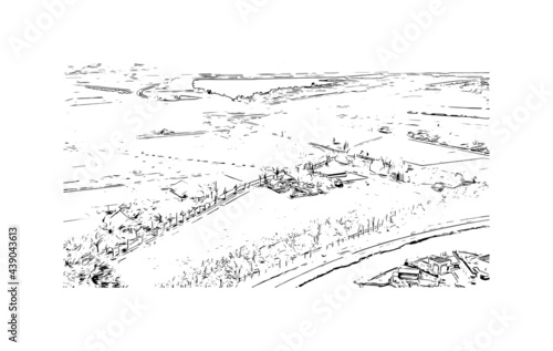 Building view with landmark of Groningen is a city in the northern Netherlands. Hand drawn sketch illustration in vector.