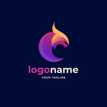 Abstract Circle Shape Dragon Logo Gradient Style For E Sport Gaming Company Business