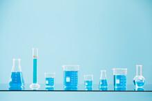 Blue Liquid In Laboratory Glass