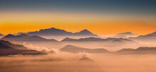 France, Haute Savoie, Chamonix, Mont Blanc, European Alps Range With Mont Blanc In Clouds At Sunset