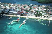 Belize, Placencia, Aerial View Of Village On Sea Coast