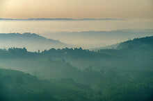 Italy, Tuscany, Val D'Orcia, Morning Fog Above Hills