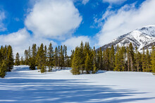 USA, Idaho, Sun Valley, Mountain And Trees In Winter