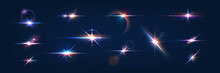 Flash. Realistic Flares. Glowing Effects. Photography Camera Light Or Sunlight Reflection From Lens. Stars In Space. Isolated Glints Set. Sparkle Glares. Vector Shimmering Elements
