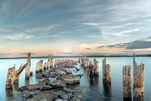 Old Pier At Sunset At Natural Reservation In City Of Timrå , Sweden