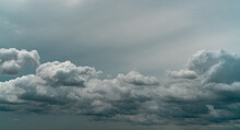 Panorama View Of Overcast Sky. Dramatic Gray Sky And White Clouds Before Rain In Rainy Season. Cloudy And Moody Sky. Storm Sky. Cloudscape. Gloomy And Moody Background. Overcast Clouds.