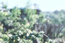 Steel Wire Fence In An Agricultural Farm In The Village Of Ukraine Country.
