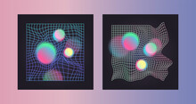 Distorted Neon Grid Pattern And Glowing Spheres. Abstract Vector Background. Retro Wave, Synthwave, Rave, Vaporwave. Blue, Black, Pink Purple Colors. Trendy Retro 80s, 90s Style. Print, Poster, Banner