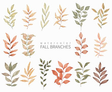 Watercolor Fall Leaves Set. Hand Drawn Autumn Design Elements For Greeting Cards, Invitations And Other.