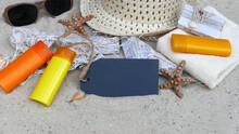 Kreidetafel Mit Strand Accessoires
