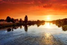 Loire River Sunrise In Amboise City