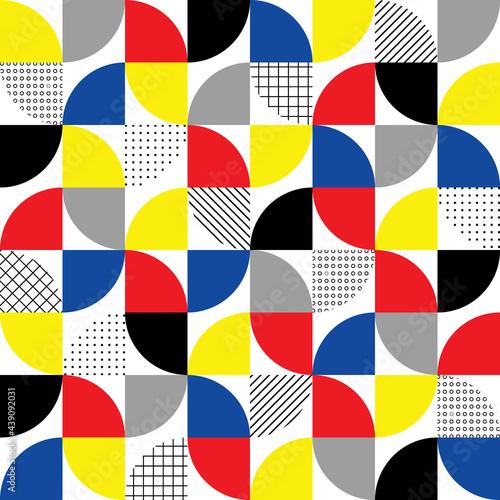 Tapety Skandynawskie  geometryczny-wzor-streszczenie-tlo-bauhausu-sprawdz-teksture-koloru-funky-figury-geometrycznej-wzor-kola-i-kwadratu-projekt-ksztaltu-pop-artu-do-wydrukow-element-graficzny-w-nowoczesnym-stylu-wektor