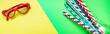 Leinwandbild Motiv summer background, tropical leaf, sunglasses, seashells, multicolored cocktail tubes accessories, travel vacation, ocean, sea, summer relax mood top view