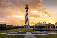 Cape Hatteras Lighthouse During Orange Sunset