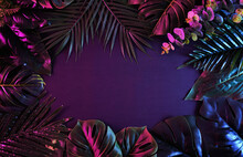 Surreal Moody Frame With Vivid Tropical Plants. Modern And Trendy Retro Concept.