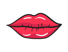 Comic Female Red Lips Sticker. Women Mouth With Lipstick In Vintage Comic Style. Rop Art Retro Illustration