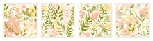 Grass Flowers Field, Abstract Floral Seamless Pattern Vector Illustration Set. Cute Decorative Ornamental Design With Green Leaves, Pastel Flowers For Wrapping Textile Wallpaper Or Wall Art Background