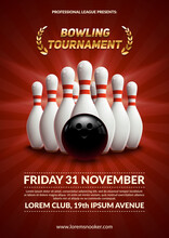 Bowling Tournament Poster 3d Ball And Skittles Composition