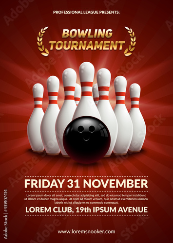 Fototapeta bowling tournament poster 3d ball and skittles composition