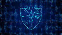 Abstract Futuristic Blue Shiny Cyber Security With Shield Lock And Light Burst Dynamic Dotted Lines On Small Circle Grid Pattern Background