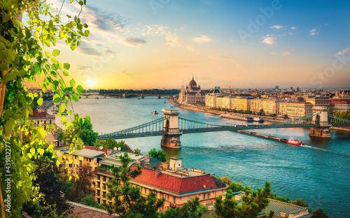 View of Budapest landmarks Fotobehang