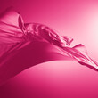 Leinwandbild Motiv 3d render. Abstract fashion background with pink silk drapery falling down. Cloth is blown away by the wind