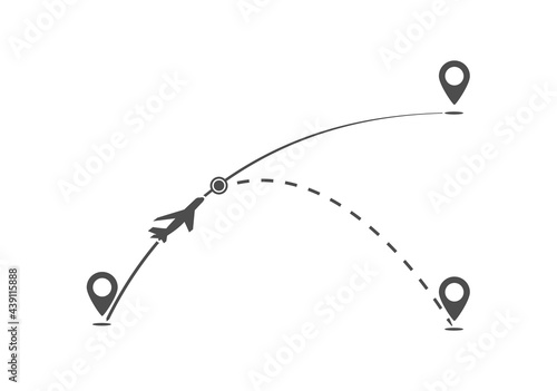 Tela flight path of the aircraft on the course from one point to another and the dott