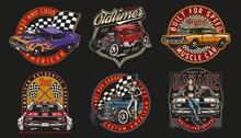 Custom Cars Colorful Labels