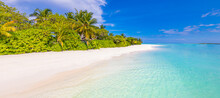 Stunning Paradise Beach. Tropical Landscape Of Summer Island Scenery, White Sand Palm Trees. Luxury Travel Vacation Destination. Exotic Beach Landscape. Amazing Nature Relax Freedom Nature Template