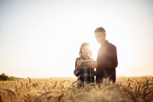 A Man And A Woman Farmers Check The Wheat Harvest. Two Agronomists Stand In The Middle Of A Ripe Wheat Field At Sunset With A Tablet. Smart Farming Concept, Internet.